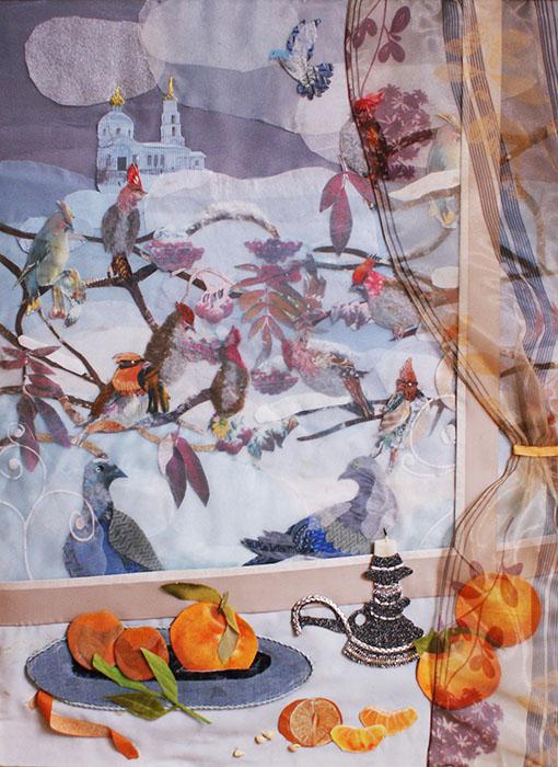 Свиристели за зимним окном