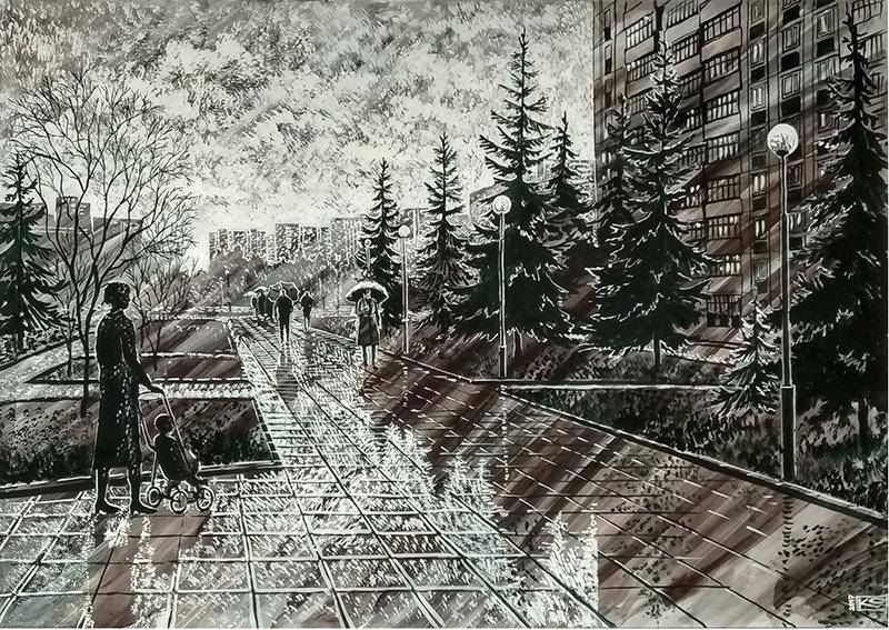 Зеленоград. Дождик на бульваре