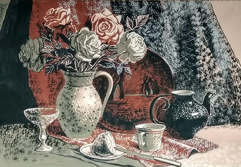 Натюрморт с розами и лимоном