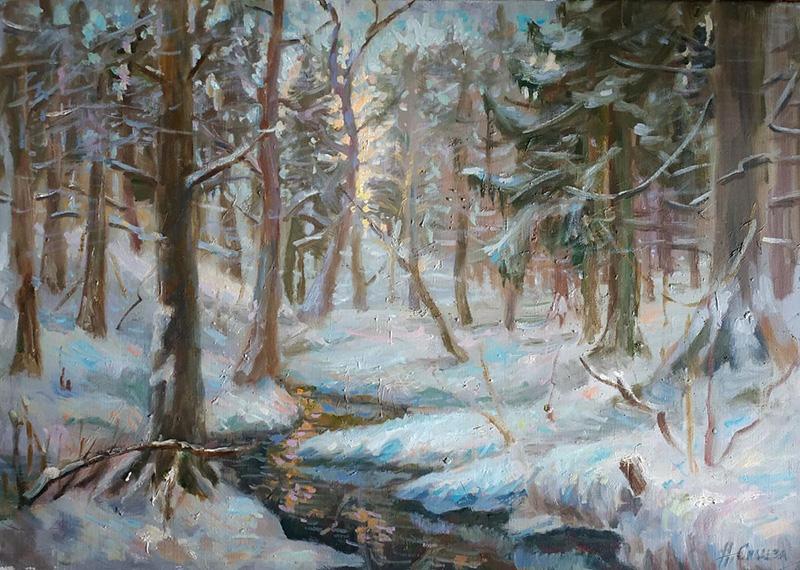 Река Сходня зимой