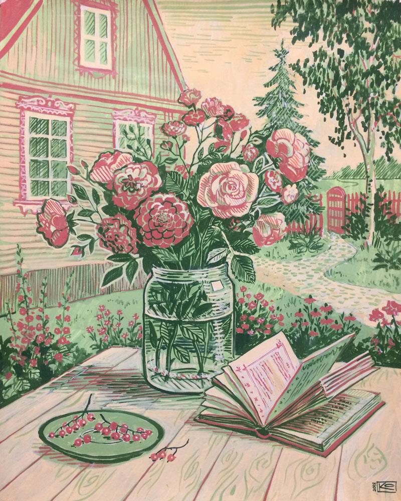 Июль. Садовые розы на солнце